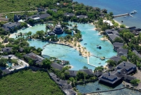 An aerial view of Plantation Bay.